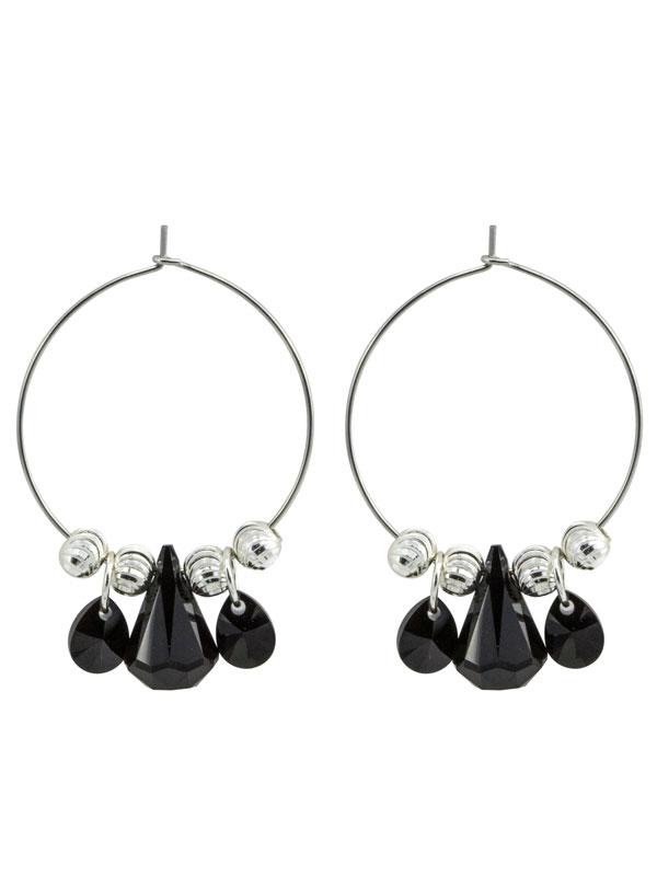 Black Crystal Hoop Earrings made with Swarovski® Crystals