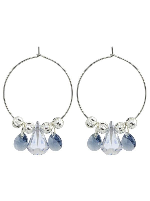 Blue Crystal Hoop Earrings made with Swarovski® Crystals