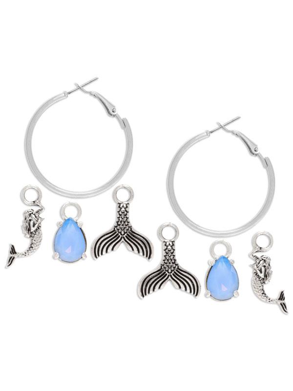 Mermaid Charm Hoop Earrings