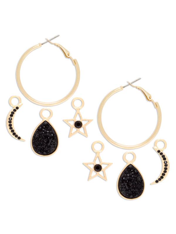 Moon Charm Hoop Earrings