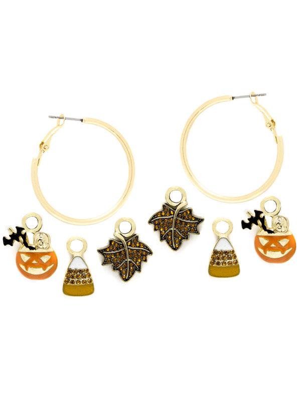 Fall Charm Hoop Earrings