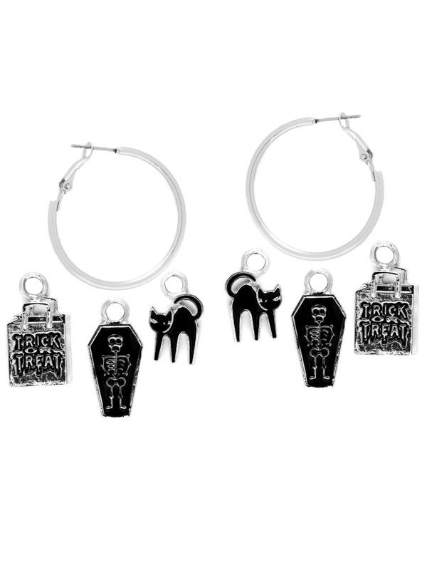 Skeleton Charm Hoop Earrings