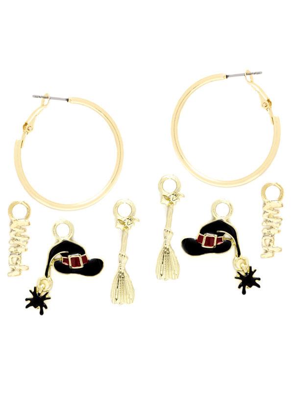Witch Charm Hoop Earrings