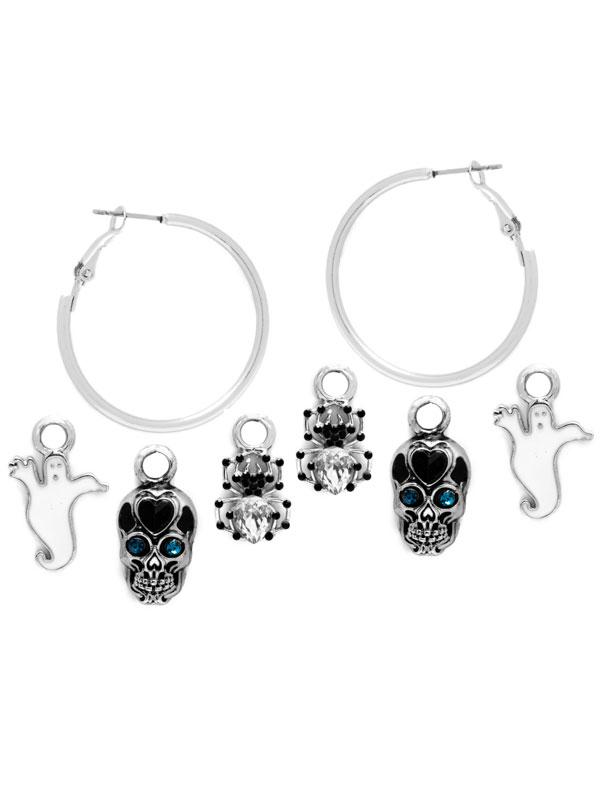 Spider Charm Hoop Earrings