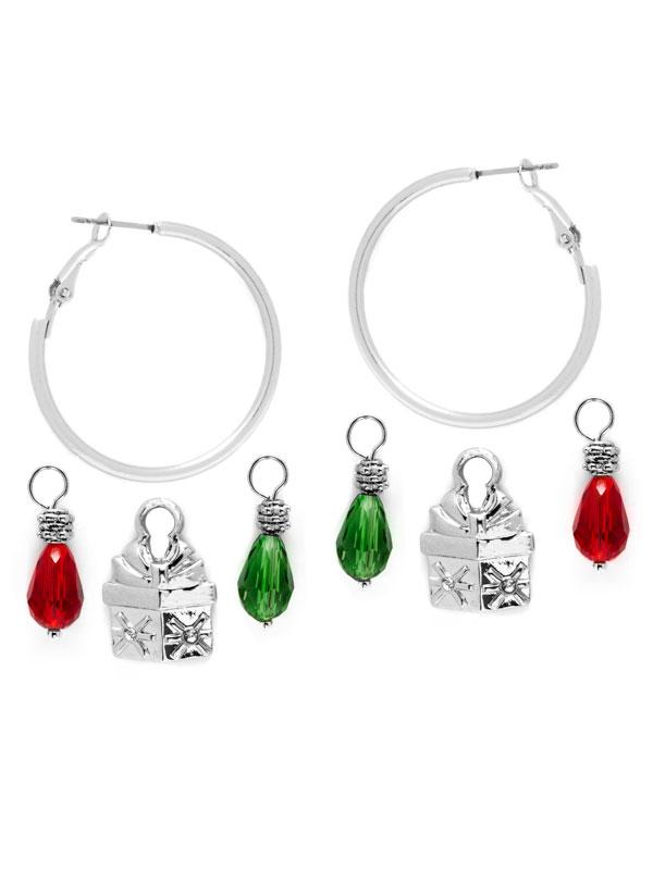 Present Charm Hoop Earrings