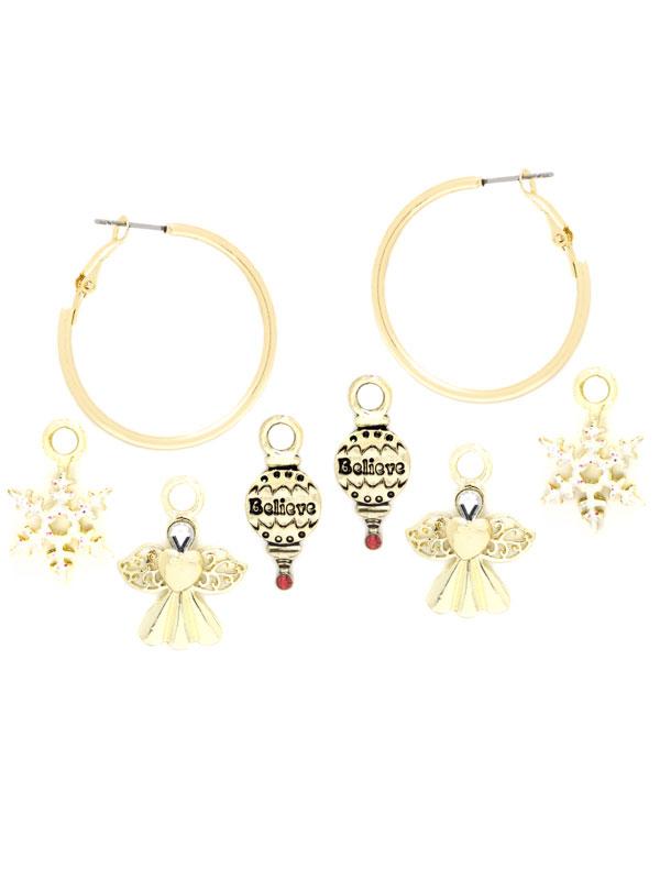 Angel Charm Hoop Earrings