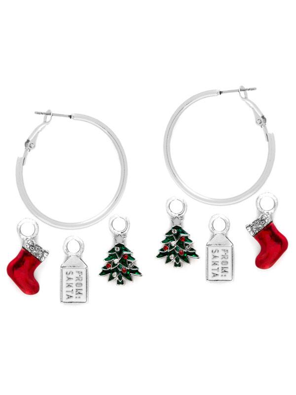 Stocking Charm Hoop Earrings
