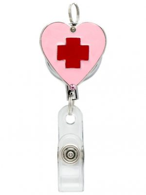 Retractable Pink Heart Badge Reel