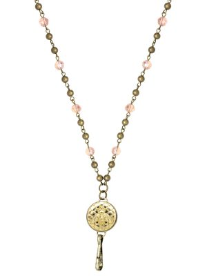 Pink Rosary Lanyard