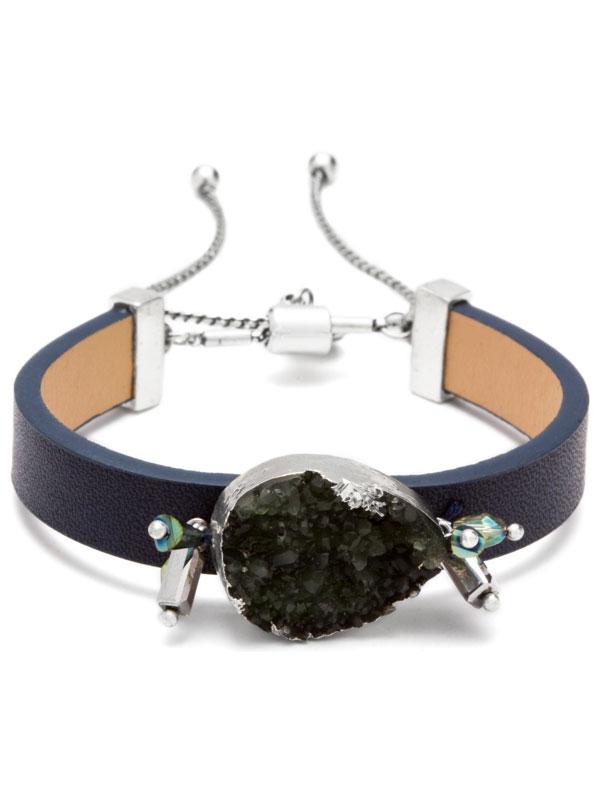 Navy Adjustable Druzy Bracelet