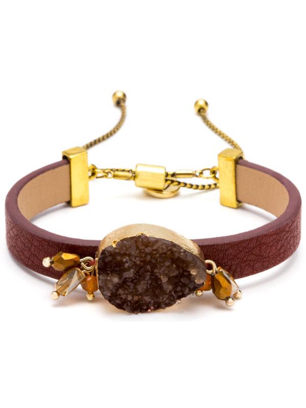 Maroon Adjustable Druzy Bracelet