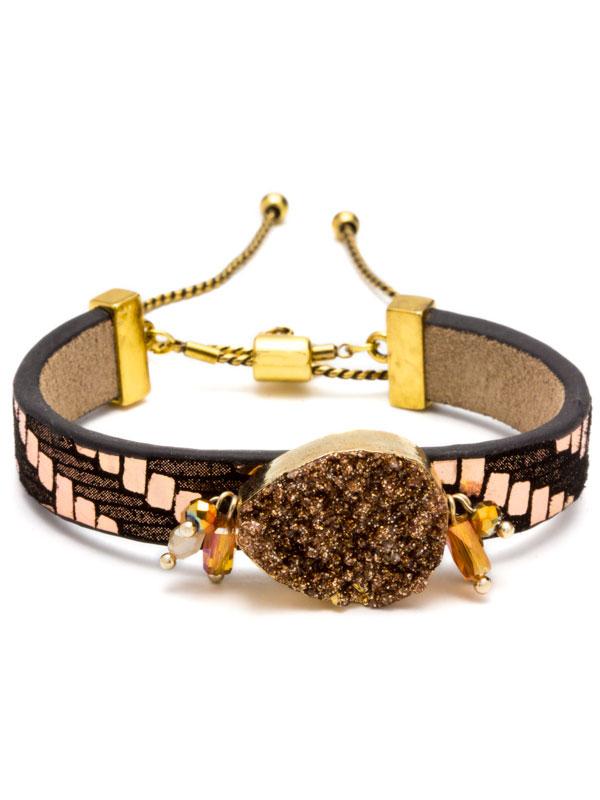 Brown Adjustable Druzy Bracelet