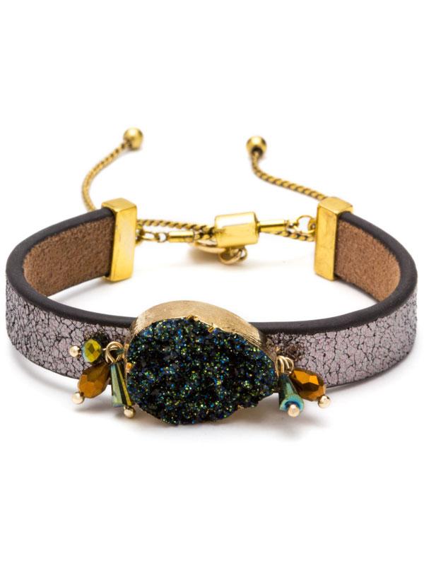 Green Adjustable Druzy Bracelet