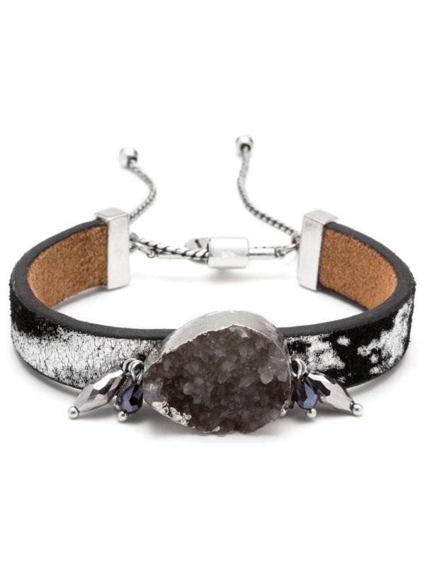 Grey Adjustable Druzy Bracelet