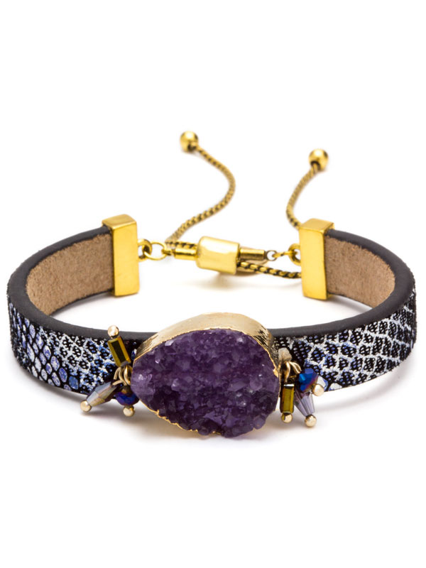 Purple Adjustable Druzy Bracelet