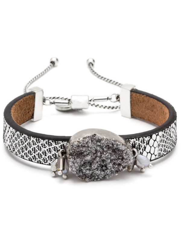 Silver Adjustable Druzy Bracelet