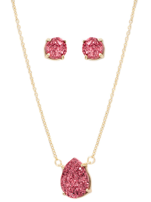 Pink Druzy Necklace and Earring Set