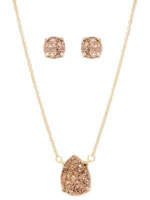 Druzy Necklace and Earring Set