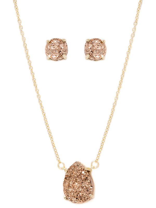 Gold Druzy Necklace and Earring Set