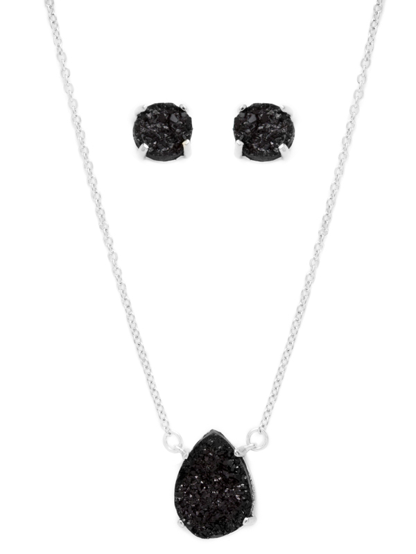 Black Druzy Necklace and Earring Set