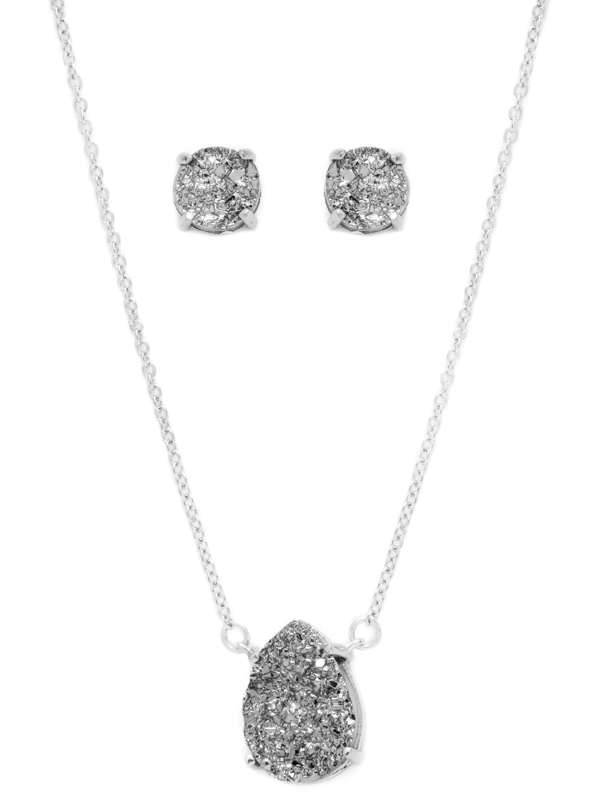Grey Druzy Necklace and Earring Set