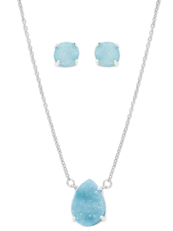 Blue Druzy Necklace and Earring Set