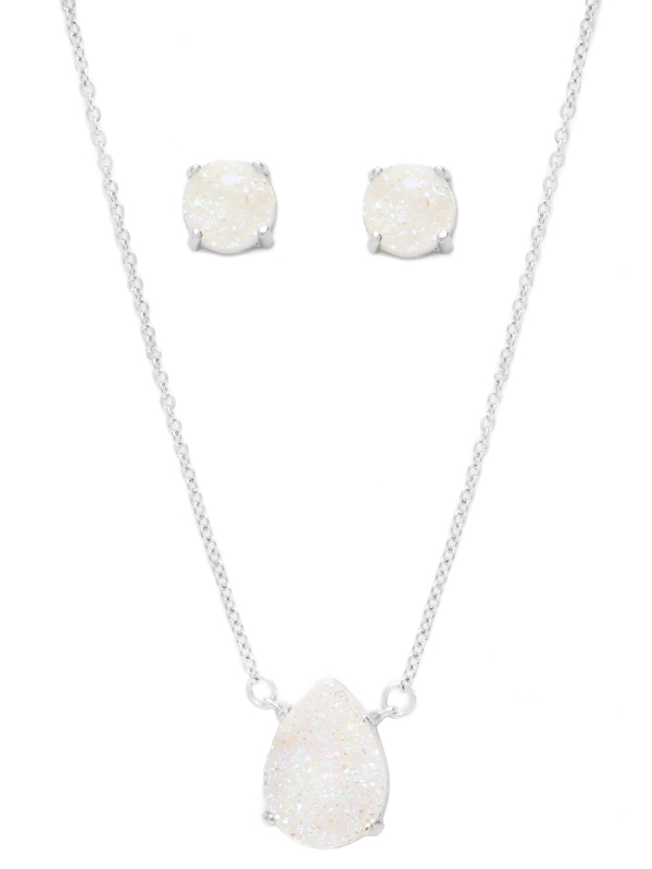 White Druzy Necklace and Earring Set