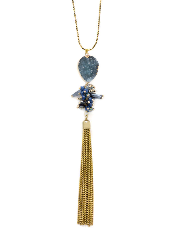 Navy Adjustable Druzy Tassel Necklace