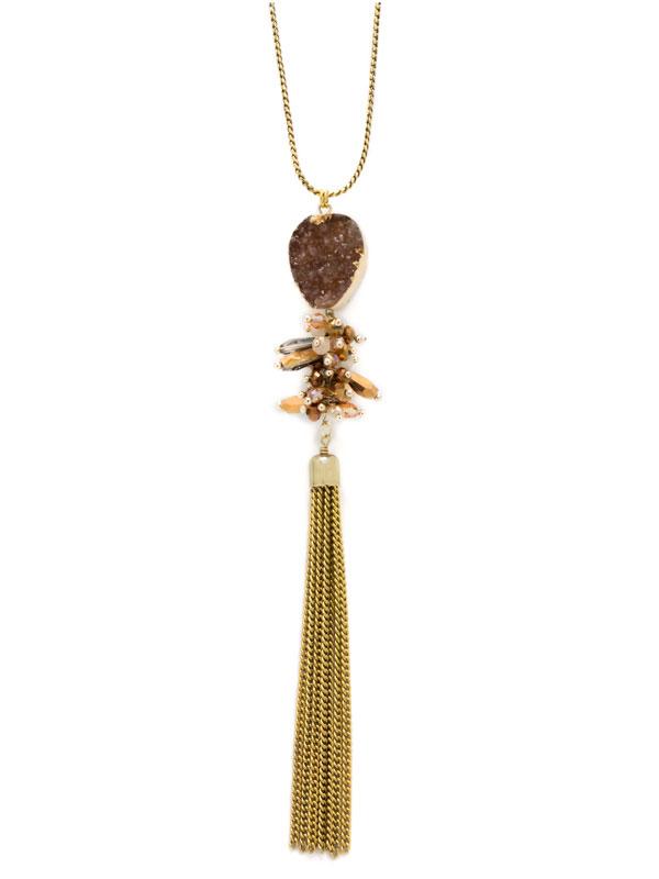 Brown Adjustable Druzy Tassel Necklace
