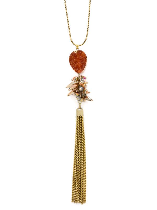 Orange Adjustable Druzy Tassel Necklace