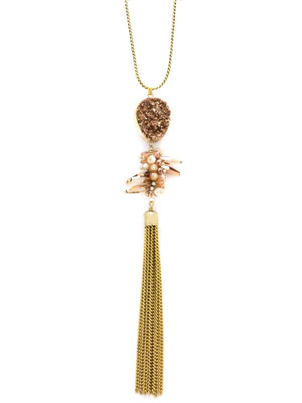 Gold Adjustable Druzy Tassel Necklace