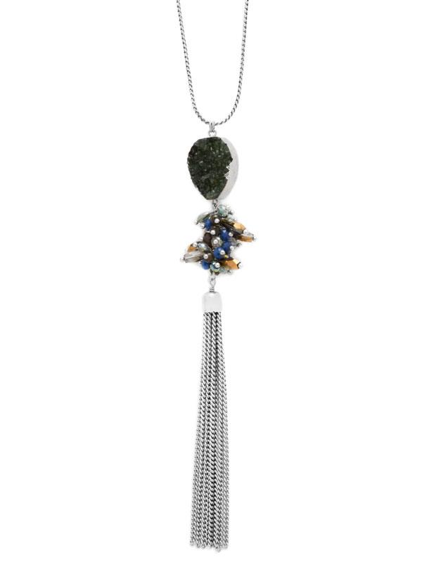 Green Adjustable Druzy Tassel Necklace