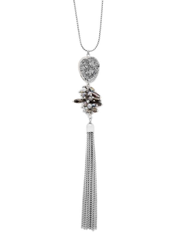 Grey Adjustable Druzy Tassel Necklace