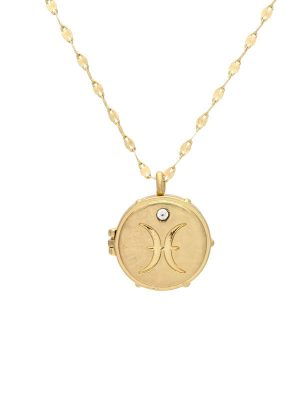 Gold Pisces Locket Necklace