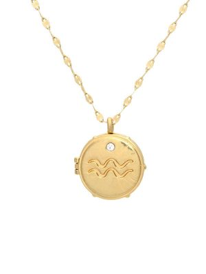 Gold Aquarius Locket Necklace