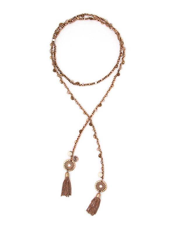 Rose Gold Beaded Essential Oil Lariat Necklace