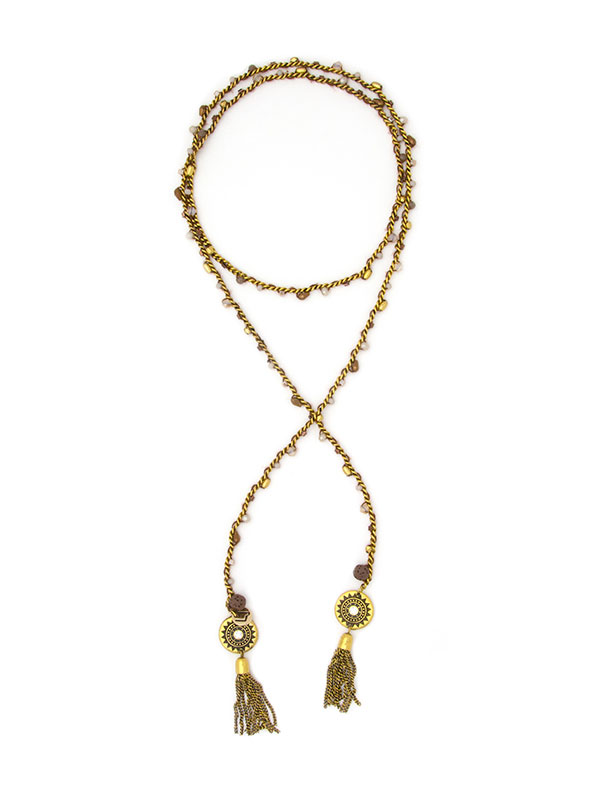 Gold Beaded Essential Oil Lariat Necklace