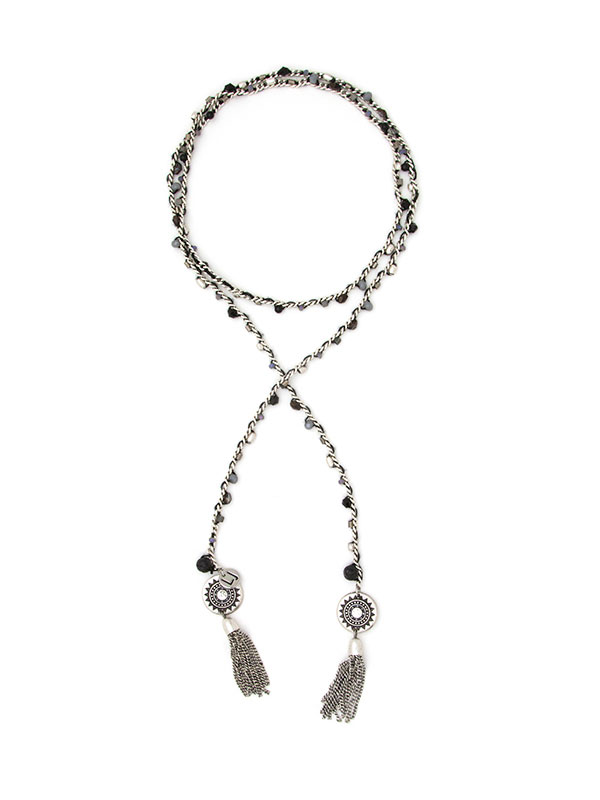 Silver Beaded Essential Oil Lariat Necklace