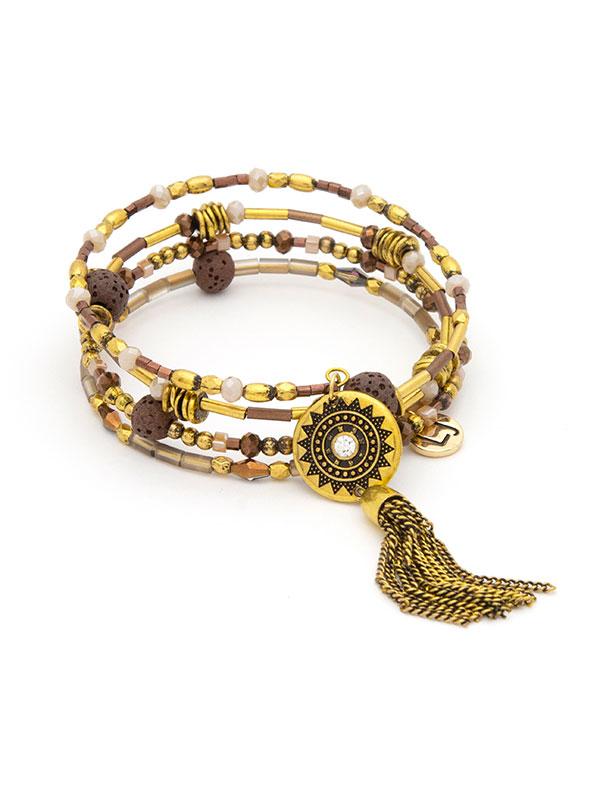 Gold Beaded Coil Essential Oil Bracelet