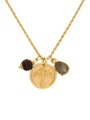 Gold Tree Life Charm Necklace