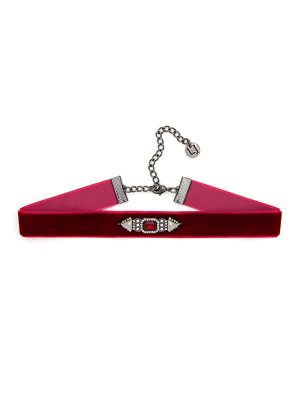 Red Rhinestone Accent Choker