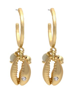 Gold Shell Charm Earrings