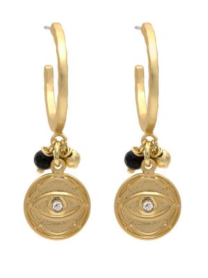 Gold Evil Eye Charm Earrings