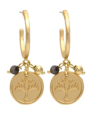 Gold Tree Life Charm Earrings
