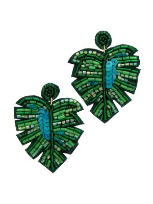 Green Palm Leaf Earrings