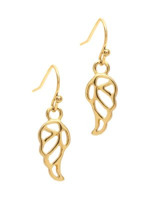 Gold Angel Wing Drop Earrings