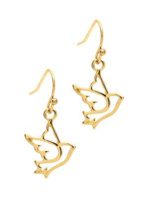 Gold Dove Bird Drop Earrings