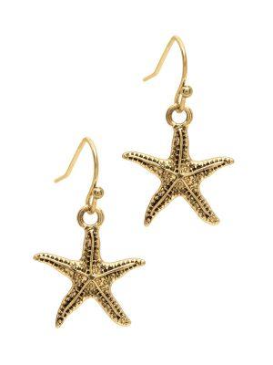Gold Starfish Drop Earrings