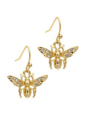 Gold Bumblebee Drop Earrings
