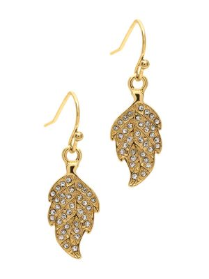 Gold Crystal Leaf Drop Earrings